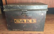 Antique Tin Toleware Decorated Square CAKE Box Original Black AAFA