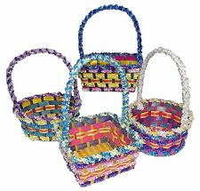 """Springtime Easter Small Bamboo Fringe Basket 12"""" Tall Assorted #349291"""