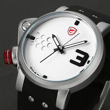 Salmon Shark 2 Mens Black Silicone Band White Face Sport Stylish Wrist Watch+Box