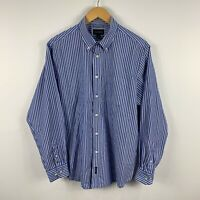 Gazman Mens Button Up Shirt Size Large Blue Striped Long Sleeve Collared