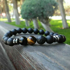 Charm 8MM Lava Rock Tiger Eye Stone Bracelets Gemstone Beaded Mens Bracelets