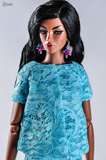 "ELENPRIV blue lace jacket Fashion royalty FR:16 16"" body Poppy Teen Kingdom doll"