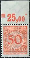 DR Weimar 1923 50 Pf Korbdeckel  Oberrand PB  Mi.Nr: 342 ** postfrisch
