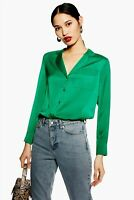 Topshop Green Satin V Neck Shirt Top Pyjama Blouse 2019 Long Sleeve 6 to 16