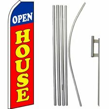Open House Blue/White/Red/Yellow Swooper Flag & 16ft Flagpole Kit/Ground Spike