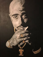 Tupac Shakur hand painted portrait signed art rapper legend icon 48x60 canvas