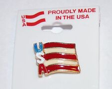 USA Flag Pin Made In USA Unique Letters Red White Blue Lapel Clasp Tie Hat Tack