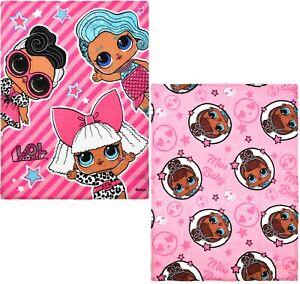 Girls Kids LOL Surprise Dolls Warm Coral Fleece Blanket Throw Plush 90 X 120 cm