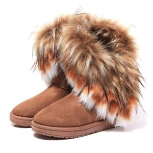 Womens LadiesWinter Warm Fur Lined Snow Ankle Boots Faux Suede Mid-calf Flat Sh