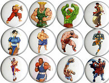 set of 12 Street Fighter II pins buttons snes genesis turbo ken ryu chun li 90s