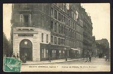 Carte Postale Ecrite en 1910 PARIS Banque SOCIÉTÉ GÉNÉRALE 72 Avenue de VILLIERS