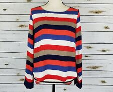 Lovemarks Tunic Top Womens Size Small Red Green Blue Stripe Long Sleeve Hi Low