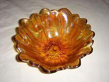 Carnival Glass Bowl Marigold Amber Daisy Sunflower