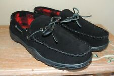 L@@K NIB MENS CLARKS BRUNO BLACK LEATHER SLIPPER SHOE 22SH-011 INDOOR OUTDOOR 10