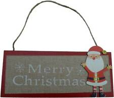 Father Christmas Merry Xmas Santa Wooden Wood Sign Plaque Hanging