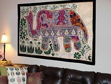 HANDMADE ELEPHANT BOHEMIAN PATCHWORK WALL HANGING EMBROIDERED TAPESTRY INDIA X23