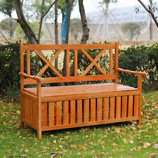 Kinbor Wooden Storage Bench With Arm And Back Garden Indoor Shoe Cabinet Chair