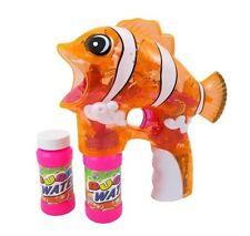 New Nemo Clownfish Fish Bubble Gun LED Lights Music 2 Bottles Batteries ORANGE
