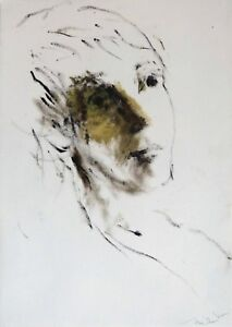 PORTRAIT original mixed media PAINTING drawing face woman oil Frederic Belaubre