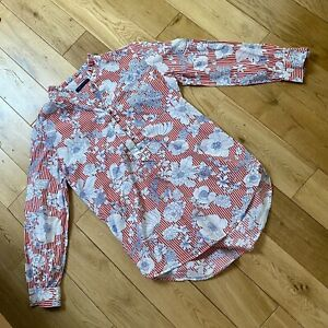 Marks & Spencer Red Floral Stripe Pie Crust Collar Retro Blouse Shirt Size 12