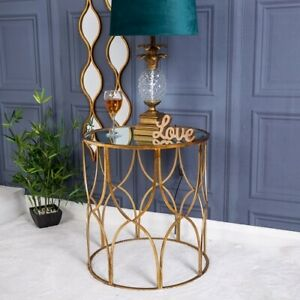 Large Gold Mirrored Metal Side Table Lamp Vintage Hallway Living Room Home