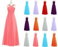 New Halter Chiffon Bridesmaid Prom Dress Formal Evening Party Ball Gown Size6-20