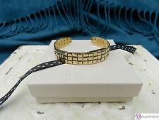 SARA BLAINE Brass Cuff Bracelet ~ Basket Weave Detail