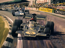 Litho 1972 British Grand Prix, Lotus Fittipaldi, door Michael Turner