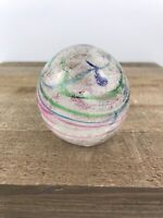 Vintage ELWOOD Indiana Art GLASS Hand Blown Paperweight 2.5 Inches Pastel