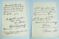 OTTO SOMMERSTORFF (1859-1934) & Frau Teresina: 2 Briefe Berlin 1905 / signiert
