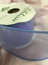 Ribbon 2� Wire Edge Shimmer Blue Purple Spool Organza Wired Partial Roll