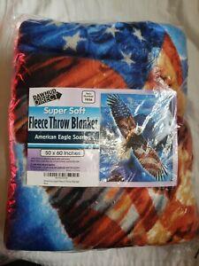 Dawhud Direct  Super Soft Plush Fleece Throw Blanket American Eagle Soaring NWT