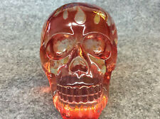 Resin skull with flames