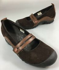 Merrell Womens 7 Plaza Bandeau Espresso Brown Suede Mary Janes Shoes Slip-On