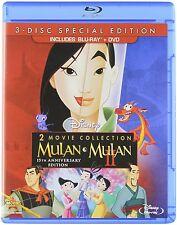 Mulan 1 2 Blu-ray + DVD Disney Animated Mushu Set Collection 1998 Lot Edition TV