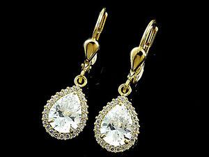 585 Gold Ohrringe mit 50 gefaßten Zirkonia Steinen 26mm Länge  1 Paar mit Brisur
