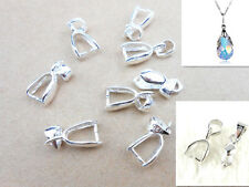 60X 3Sizes 925 Sterling Silver Findings Bail Connector Bale Pinch Clasp Pendants