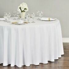 """10 Round WHITE 120"""" Inch Polyester Tablecloths 5' feet Table Cover Quality USA"""
