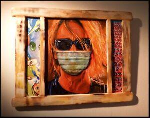 Original Outsider Painting Contemporary Folk Art Brut Virus CRISTABEL CHRISTO