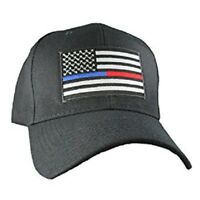 Black USA Police Fire Thin Red Blue Line Cap Low Profile Hat Baseball Support