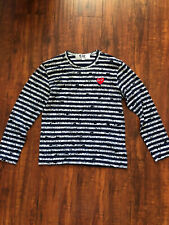 Comme Des Garcons Play Navy striped long sleeve shirt size small
