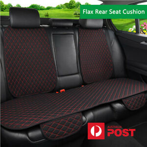 Black+Red Line Car Flax Rear Seat Cover w/Backrest Breathable Pad Mat Universal