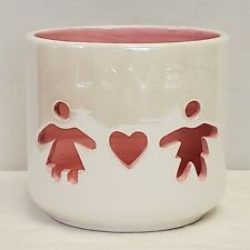 "Tea Light Candle Holder White Pink Love Children Kids Ceramic 4"" Gift for Mom"