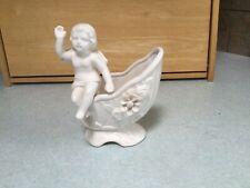 Vintage Waving Angel Figurine sitting on Planter/ Vase