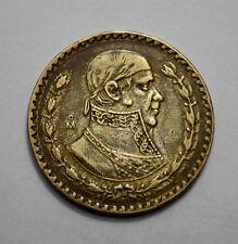 1958 MEXICO UN PESO MEXICAN COIN NAT.TONED, Silver , Incuse Edge Writing, AU+