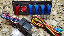 12V Ignition Switch Panel w/ Push Button Start & 4 Blue/1 Red LED Toggle Switch