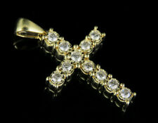 "Unisex 10K Yellow Gold Genuine Diamond One Row Fanook Cross Pendant 1/2 CT 1.2"""