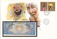 superbe enveloppe BOUTHAN BHUTAN billet de banque 1 N UNC NEUF NEW + TIMBRES