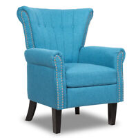 Modern Accent Arm Chair Tufted Upholstered Single Sofa w/ Rubber Wood Legs Blue
