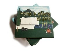 Mountains Home Is Where We Park It 5th Wheel  Home  Stone Coasters Set Of 4
